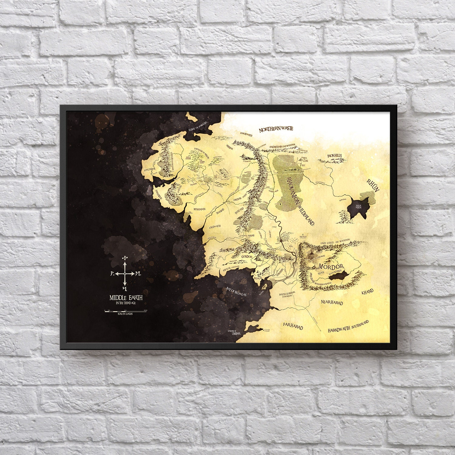 Middle-earth Map Poster, Lord of the Rings Art, Gift for LOTR fan ...