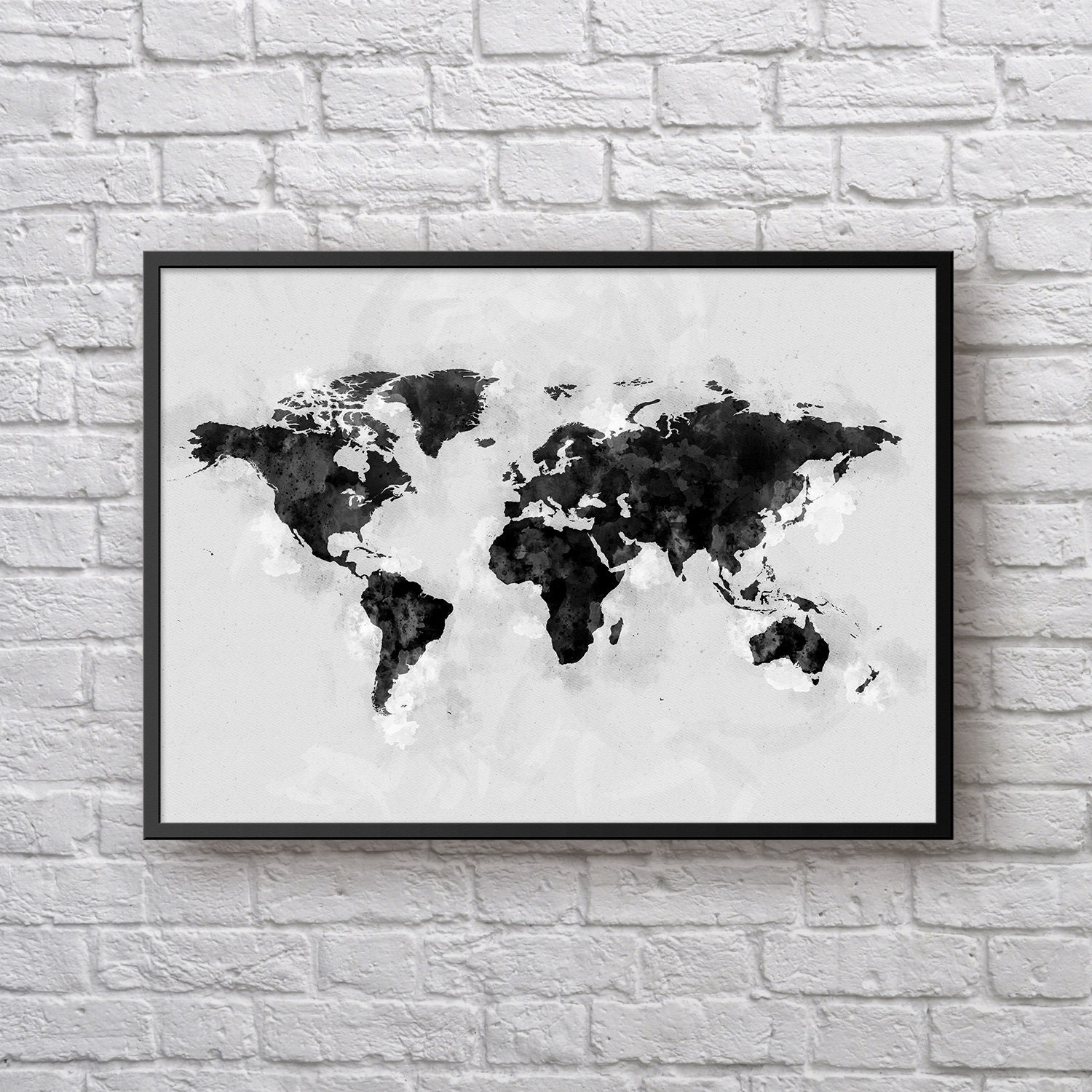World map poster black white watercolor world map travel map world map poster black white watercolor world map travel map monochrome world map wall art large world map home decor office poster gumiabroncs Choice Image
