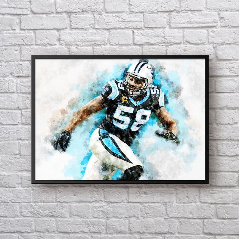 huge discount 488d3 654cb Thomas Davis Print, Gift for Carolina Panthers Fan, Panthers Home Decor,  American Football Painting, Sports Art, Kids Room Man Cave Wall Art