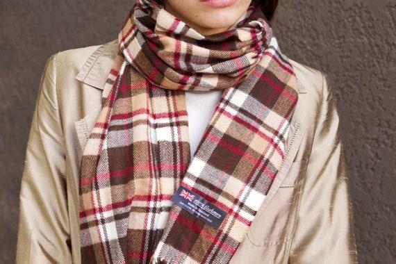 Vintage cashmere scarf Wool scarf Tartan scarf Lon
