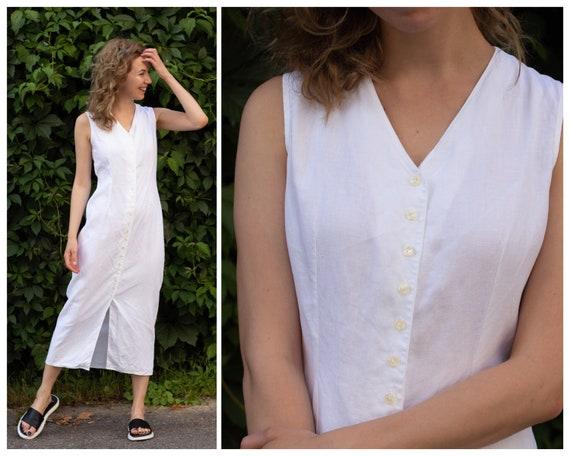 Vintage shirt dress Linen dress White linen dress