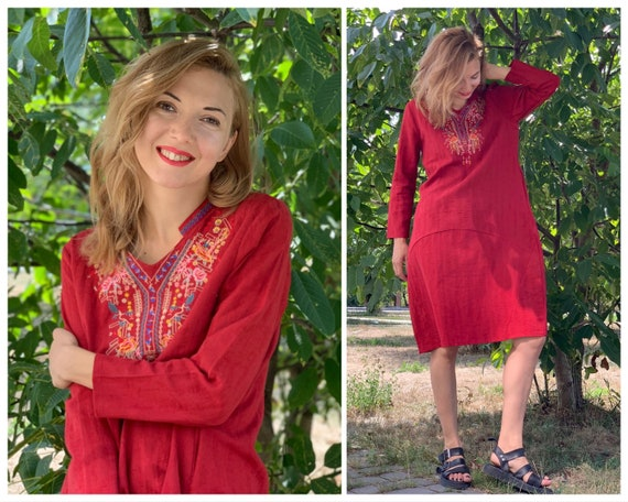 Vintage dress Red Linen dress Embroidered dress Bo