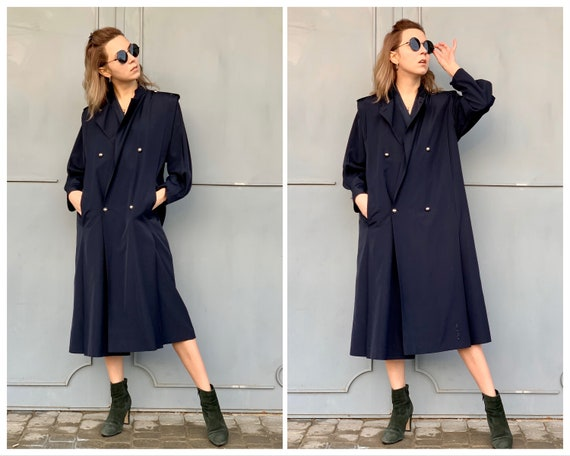 Vintage navy blue coat Wool coat Retro coat Vintag
