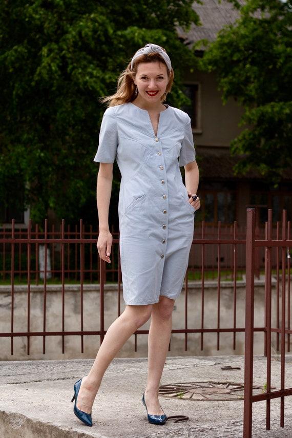 Vintage dress Shirt dress Valentino Cotton dress … - image 2