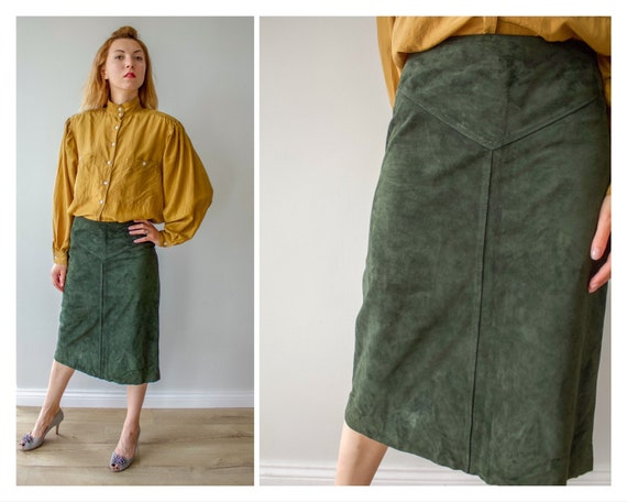 Vintage leather skirt Bottle green suede Midi skir