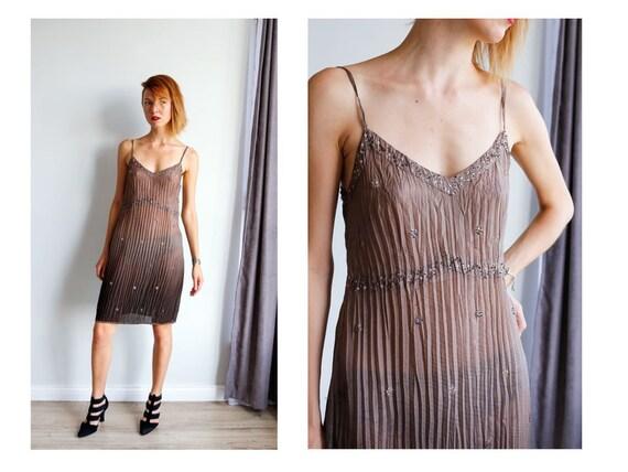 Vintage dress Silk dress Ombre dress Silk beaded d
