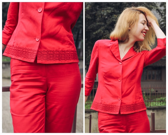 Vintage pants suit Red linen pants and jacket woma
