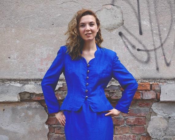 Vintage skirt suit Amazing Woman's suit Blue Silk