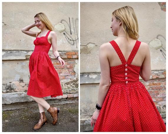 Vintage dress red cotton cottagecore sundress - image 1