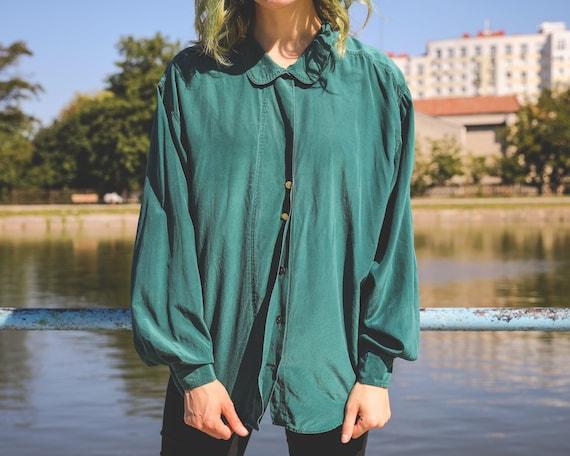 Vintage silk blouse woman Bottle green shirt Overs