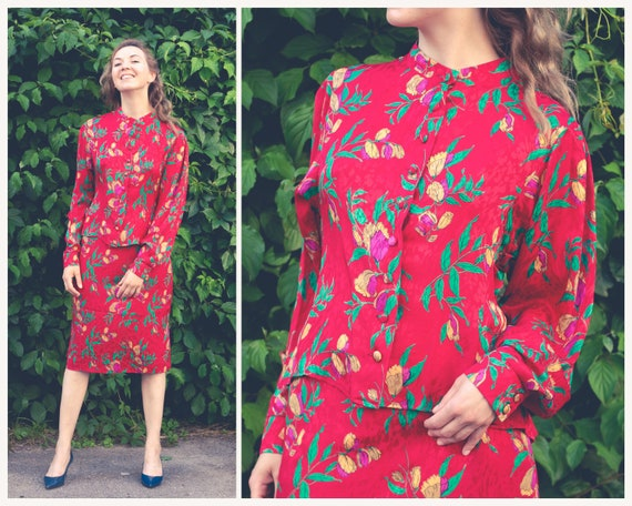 Vintage woman's skirt suit Vintage silk dress Red