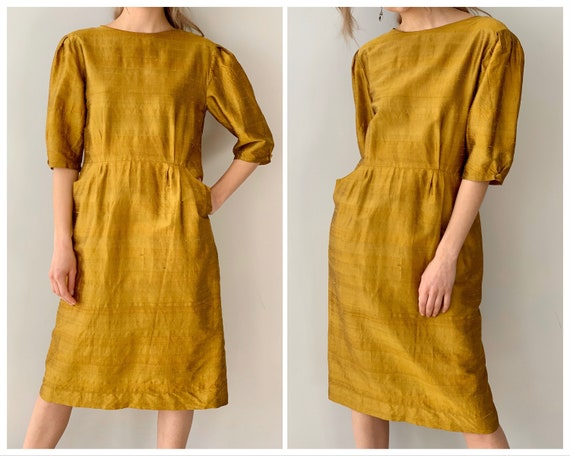Vintage silk dress Yellow silk dress Gold silk dre