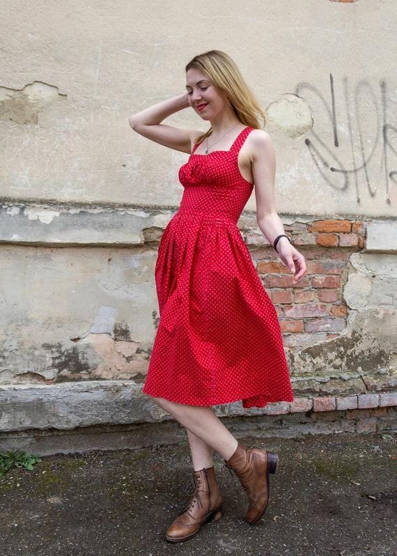 Vintage dress red cotton cottagecore sundress - image 10