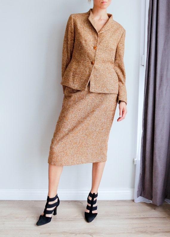 Vintage women's tweed skirt suit / Woolen skirt s… - image 2
