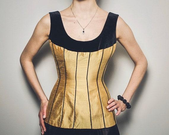Vintage corset 100% silk Victorian corsage Gold si