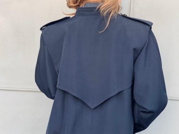 Vintage trench coat navy blue coat Wool coat Retro