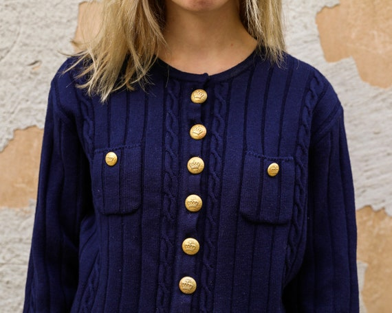 Vintage cardigan Navy blue wool cardigan Louis Fer