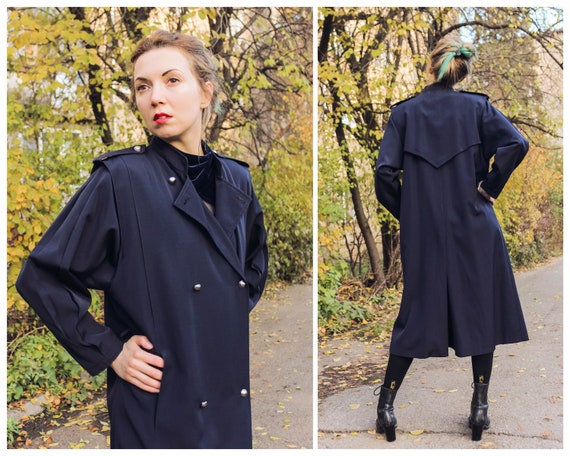 Vintage trench coat navy blue coat Wool coat Retro