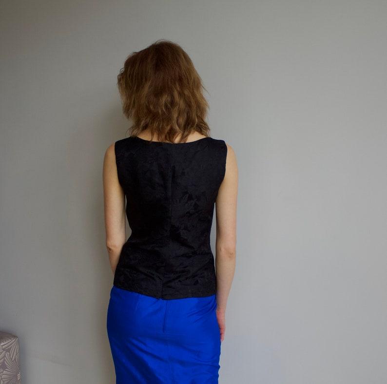 Vintage blouse Silk blouse Black silk top Silk blouse woman Sleeveless top Small size blouse
