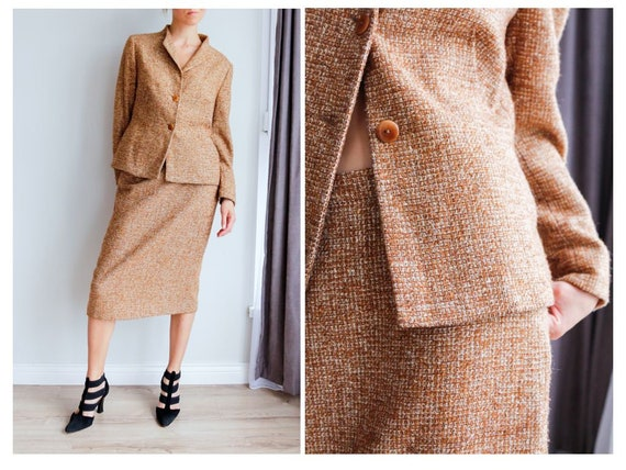 Vintage women's tweed skirt suit / Woolen skirt se