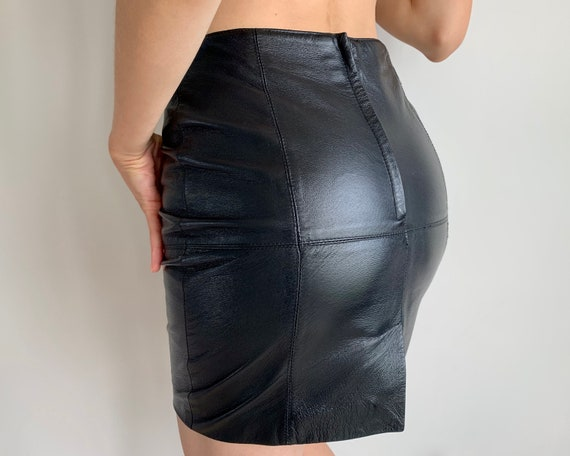 Vintage leather skirt Pencil skirt Black leather s