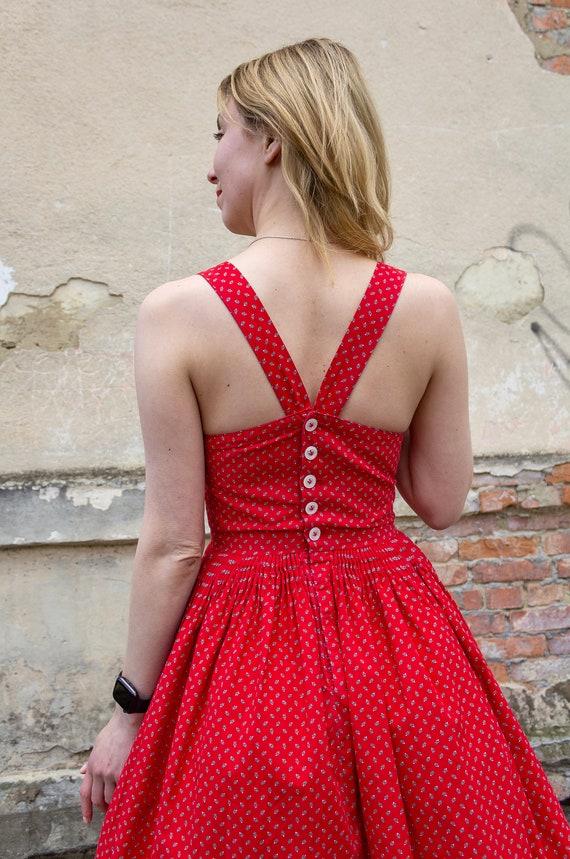 Vintage dress red cotton cottagecore sundress - image 9