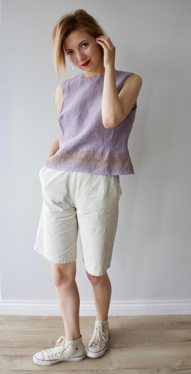 Vintage linen silk top  Lavender tank top  Vintage blouse  Lavender blouse  Sleeveless blouse