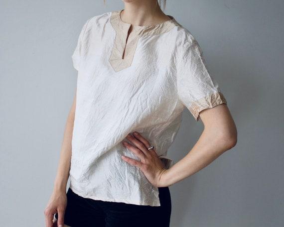 Vintage silk Blouse Nude top 100% silk Ivory white
