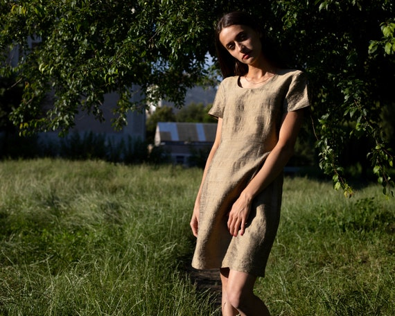 Vintage silk dress Gold silk dress Wild silk Summe