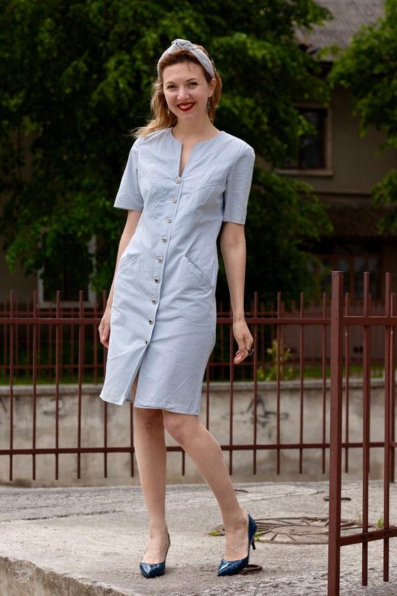 Vintage dress Shirt dress Valentino Cotton dress M