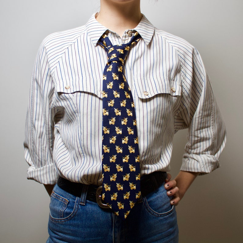 Vintage necktie Silk tie Fun patterned tie cows necktie