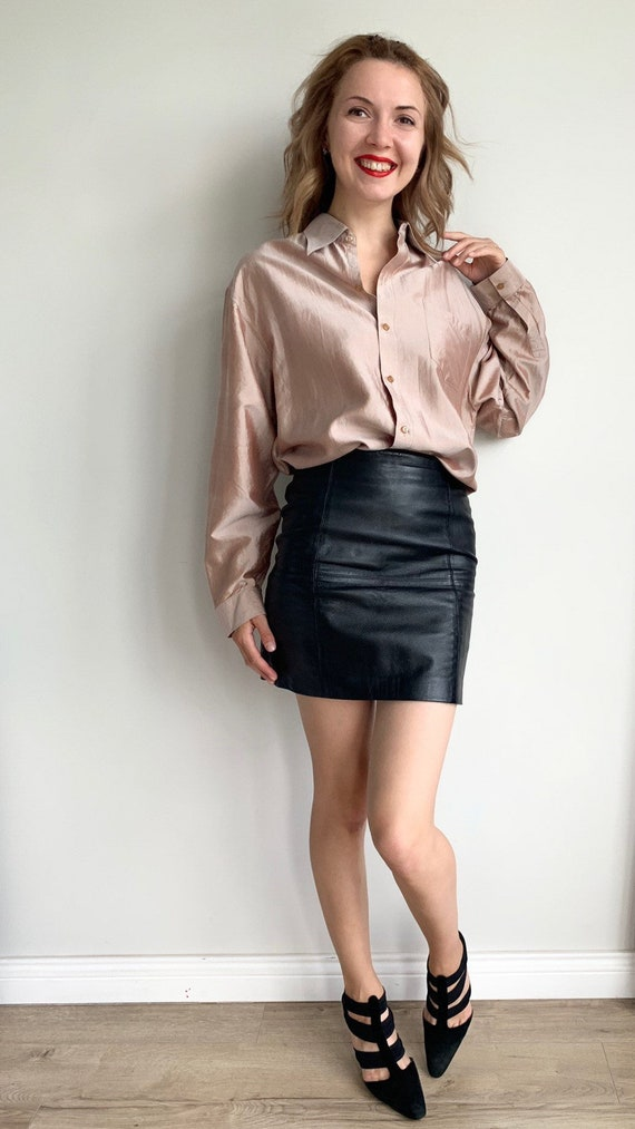 Vintage Leather skirtBlack Pencil skirt