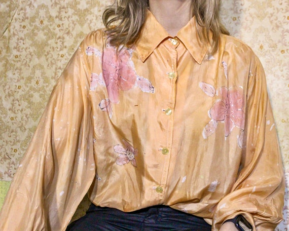 Vintage silk blouse Oversize button up shirt Orang