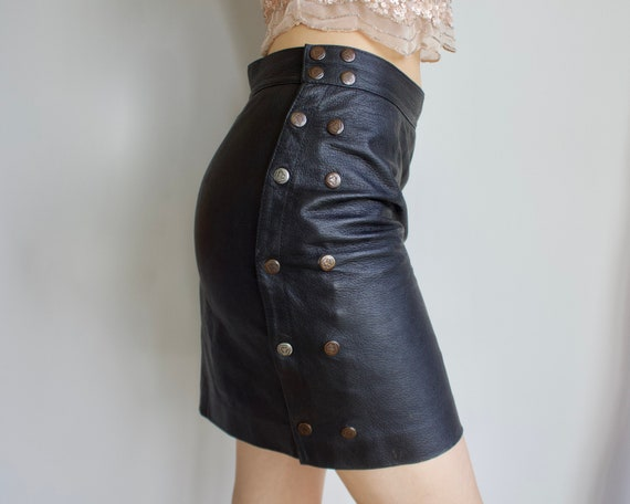 Vintage leather skirt Mini skirt Black Grunge styl