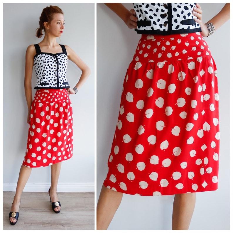 Vintage silk skirt woman  Summer silk skirt  red skirt  midi silk skirt  leaves print skirt