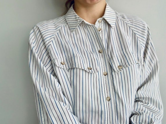 Vintage white shirt by Bogner Cotton formal blouse