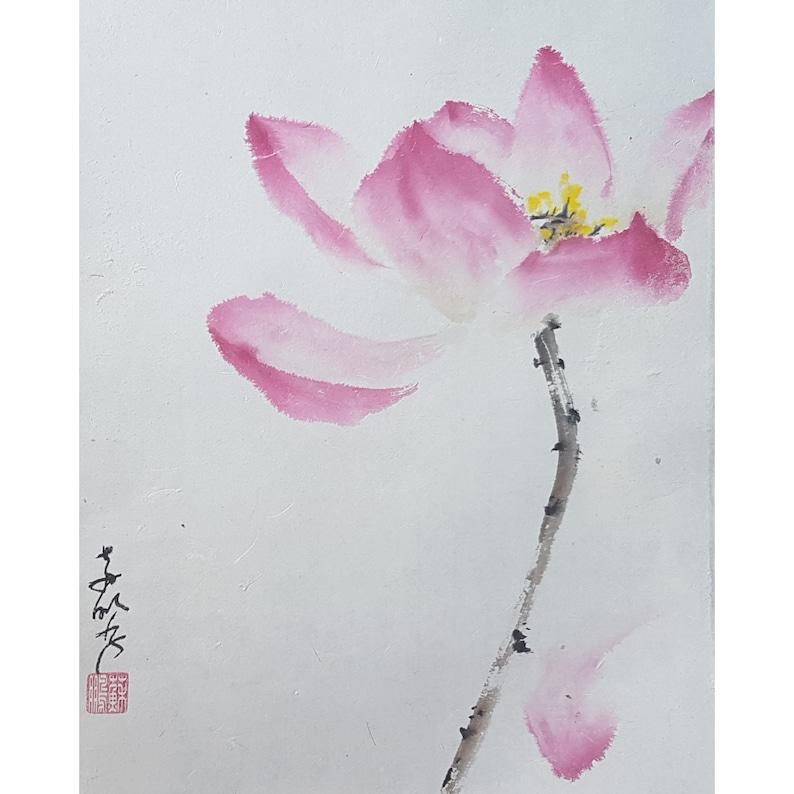 Original Chinese Brush Painting On Fibre Rice Paper Lotus Etsy