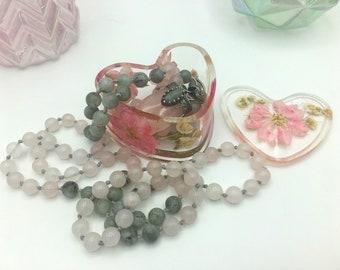 Resin Heart Jewelry Box - Pink Flower Power of Love
