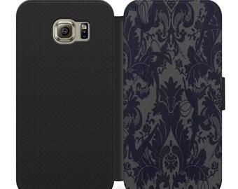 Vintage Dark Blue Retro Wallpaper Flip Wallet Phone Case Iphone 4 5 6 7 8 Plus Samsung S4 S5 S6 S7 S8 S9 More