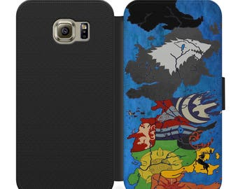 Game of thrones westeros houses map flip wallet phone case for iphone 4 5 6 7, Samsung s2 s3 s4 s5 s6 s7 s8 S9 S9 plus