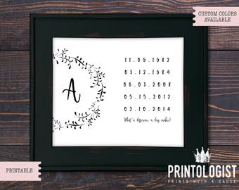 What a difference a day makes, Personalized Family Print with Names, Monogram, Custom Dates, Home Decor, Farmhouse, Decor, 8x10, Printable