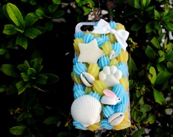 Aesthetic Blue & Yellow Checkered Decoden Whip Cream Phone Case for iPhone 5, 5s