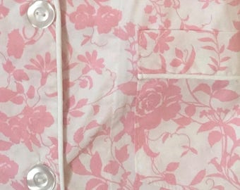 Hospital Gown Pink and White Floral MEDIUM  Raspberry Bee  Designer Patient Gown