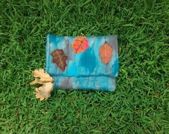 Fall Clutch/Fall Purse/Leaf Purse/Fall bag/tablet case/handmade purse/Autumn Clutch/Teal Clutch/Autumn Purse/Teal Purse/needle felted purse