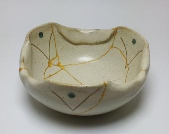 Japanese Mitsuori bowl repaired with Kintsugi (Kintsukuroi) technique.