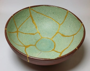 Brown and Mint hand-made bowl repaired with Kintsugi (Kintsukuroi) technique