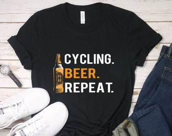 1dba5777 Cycling Beer Repeat T-Shirt, Bicycle and beer, Funny Cycling Shirt, Bicycle  Gifts, Bicycle Cyclist Gift, Cycling Lovers Tee, Bicycle t shirt