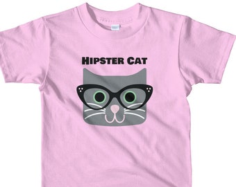 Hipster Cat Kids t-shirt | Funny Cat With Glasses Shirt | Funny Kitten Tee Shirt | Cat Shirt | Boys and Girls Cat Tshirt | Cat Lover Clothes