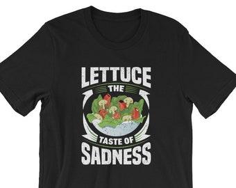 4b4e49636 Lettuce The Taste of Sadness Carnivore Distressed Unisex T-Shirt | Funny  Lettuce T-Shirt | Funny Salad Tee | Vegan shirt | Vegetarian Tee