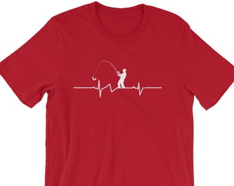Fishing Heartbeat Tshirt | Shirt For Fisherman | Funny Fishing Apparel |  Fishing Tee Shirt |  Fathers Day Fishing | I Love Fishing Shirt